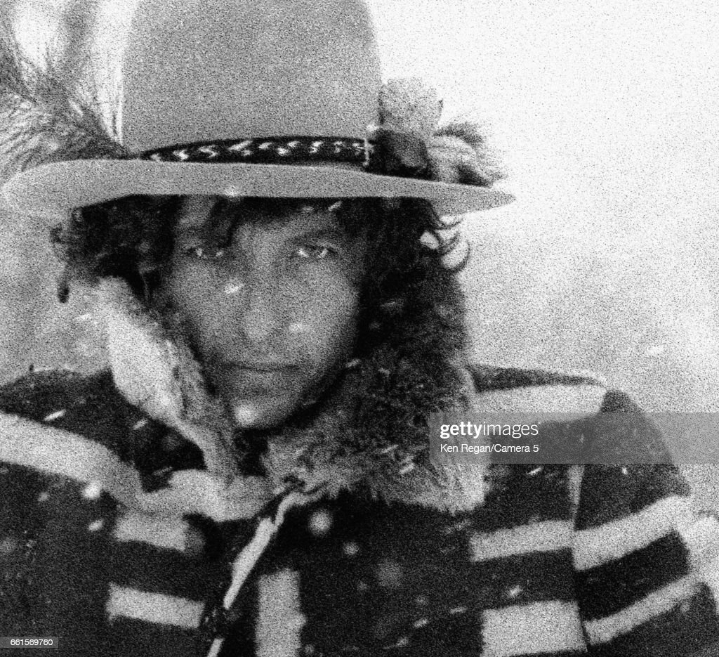 Musician Bob Dylan is photographed during the Rolling Thunder Revue in December 1975 in Bangor, Maine.