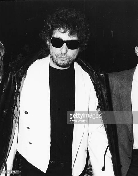 Musician Bob Dylan wearing sunglasses circa 1985