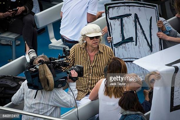 Musician Bob Geldof pictured on an 'In' campaign boat as he joins a flotilla along the Thames River on June 15 2016 in London England The flotilla...