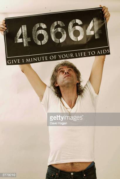 Musician Bob Geldof poses for a portrait in a studio at the '46664 Give One Minute of Your Life to AIDS' concert held on November 29 2003 at...
