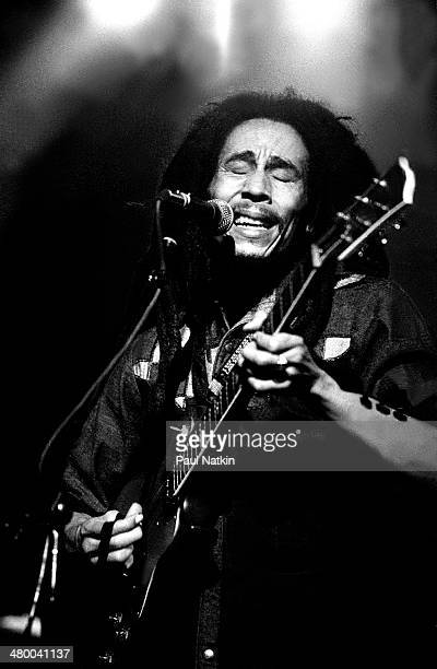 Musician Bob Marley performs onstage at the Uptown Theater Chicago Illinois November 14 1979
