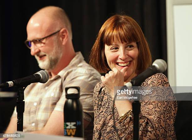 Musician Bob Mould and Karen Glauber President of Hits Magazine speak onstage at Warehouse Songs and Stories during the 2014 SXSW Music Film...
