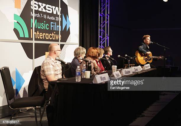 Musician Bob Mould Karen Glauber President of Hits Magazine and musicians Matthew Caws Britt Daniel Jeremy Messersmith and Steve Wynn of The Baseball...