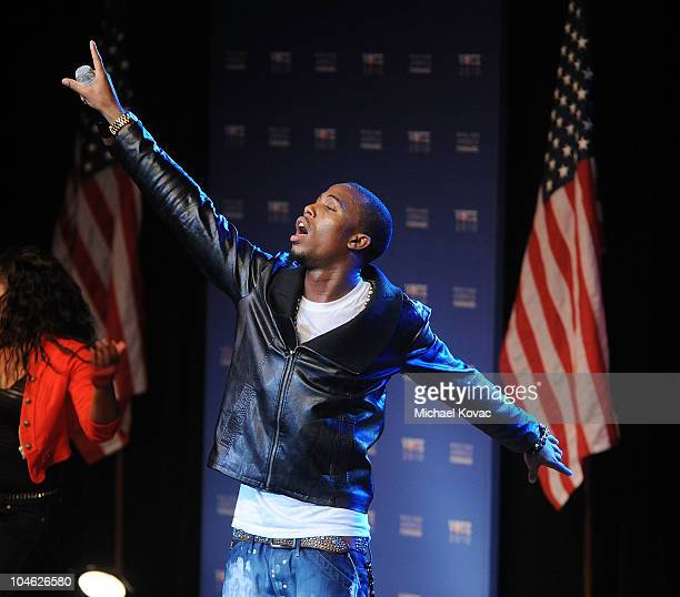 Musician BoB performs at an event presented by GEN44 and the Democratic National Committee at DAR Constitution Hall on September 30 2010 in...