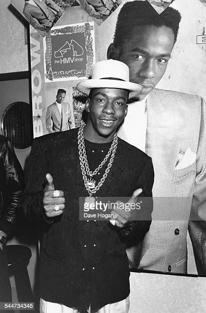 Musician Bobby Brown giving a thumbs up as he promotes his new album at the HMV store in Oxford Street London July 2nd 1989