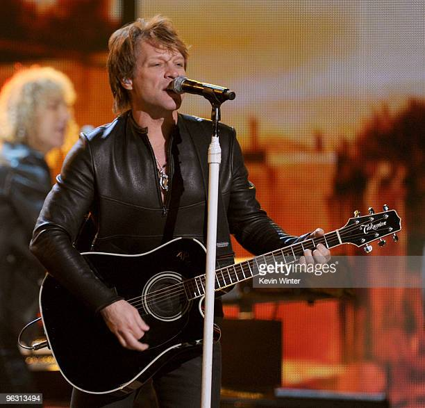 Musician Bon Jovi performs onstage during the 52nd Annual GRAMMY Awards held at Staples Center on January 31 2010 in Los Angeles California