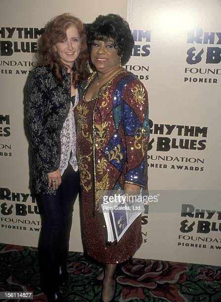 Musician Bonnie Raitt and Singer Ruth Brown attend The Rhythm Blues Foundation's Fifth Annual Pioneer Awards on March 2 1994 at Roseland in New York...