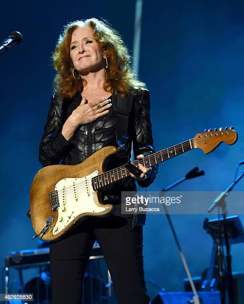 Musician Bonnie Raitt performs onstage at the 25th anniversary MusiCares 2015 Person Of The Year Gala honoring Bob Dylan at the Los Angeles...