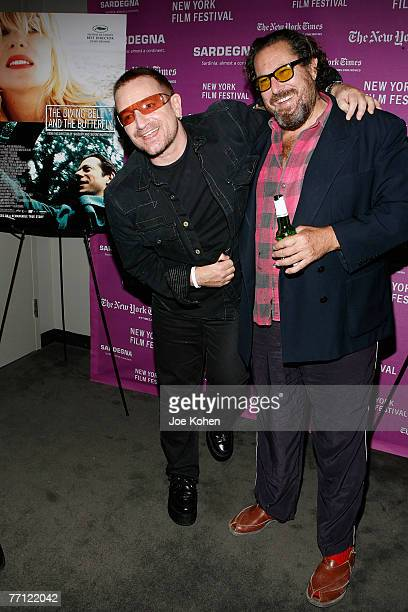 """Musician Bono and director Julian Schnabel arrive at the """"The Diving Bell and The Butterfly"""" screening during the 45th New York Film Festival..."""