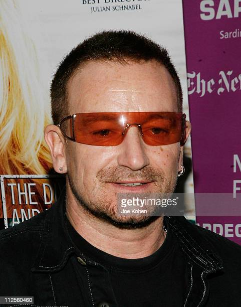 """Musician Bono arrives at the """"The Diving Bell and The Butterfly"""" screening during the 45th New York Film Festival September 29, 2007 in New York City."""