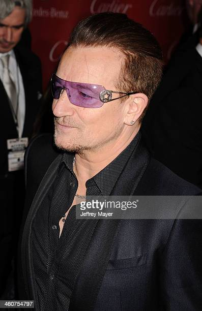 Musician Bono of U2 arrives at the 25th Annual Palm Springs International Film Festival Awards Gala at Palm Springs Convention Center on January 4...