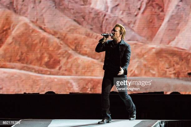 Musician Bono of U2 performs on stage on the final night of U2 The Joshua Tree Tour 2017 at SDCCU Stadium on September 22 2017 in San Diego California