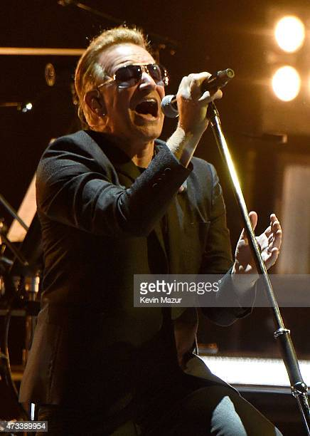 Musician Bono of U2 performs onstage during the U2 iNNOCENCE eXPERIENCE tour opener in Vancouver at Rogers Arena on May 14 2015 in Vancouver Canada