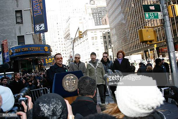 Musician Bono of U2 speaks at the renaming ceremony where part of West 53rd Street has been renamed U2 Way with band members Adam Clayton The Edge...