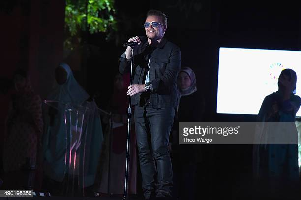 Musician Bono speaks on stage at the 2015 Global Citizen Festival to end extreme poverty by 2030 in Central Park on September 26 2015 in New York City