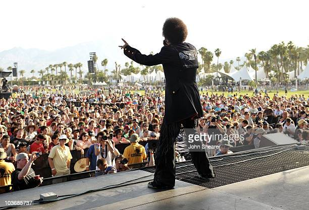 Musician Boots Riley of Street Sweeper Social Club performs during Day 1 of the Coachella Valley Music Art Festival 2010 held at the Empire Polo Club...