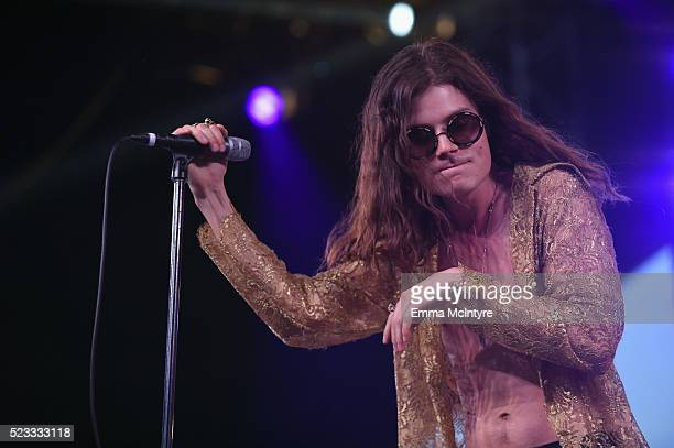 Musician Borns performs onstage during day 1 of the 2016 Coachella Valley Music Arts Festival Weekend 2 at the Empire Polo Club on April 22 2016 in...