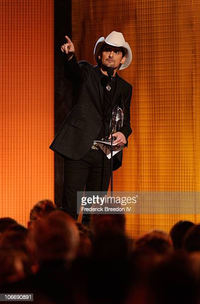 Musician Brad Paisley accepts an award onstage at the 44th Annual CMA Awards at the Bridgestone Arena on November 10 2010 in Nashville Tennessee