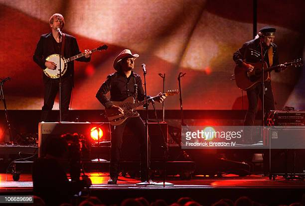 Musician Brad Paisley onstage at the 44th Annual CMA Awards at the Bridgestone Arena on November 10 2010 in Nashville Tennessee