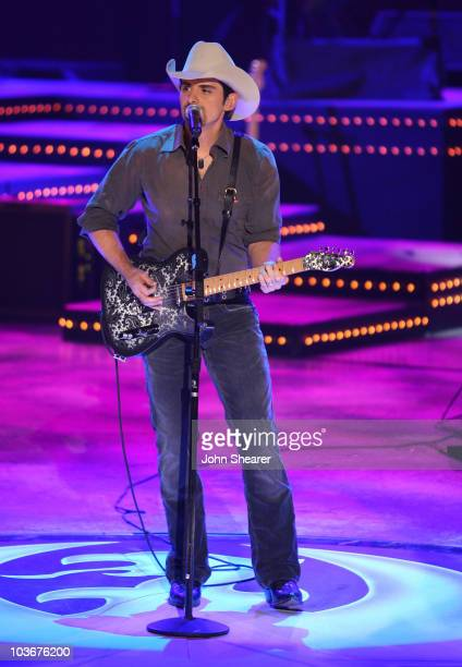 Musician Brad Paisley performs during CMT Giants honoring Hank Williams Jr at the Gibson Amphitheatre on October 25 2007 in Los Angeles California