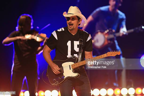 Musician Brad Paisley performs onstage during Jeff Dunham Unhinged In Hollywood Featuring Special Guest Brad Paisley on August 19 2015 in Los Angeles...