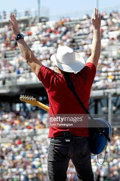 Musician Brad Paisley performs prior to the NASCAR Sprint Cup Series Daytona 500 at Daytona International Speedway on February 20 2011 in Daytona...