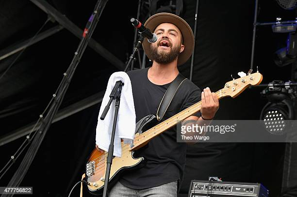 Musician Brad Pierce of Knox Hamilton performs onstage during day 2 of the Firefly Music Festival on June 19, 2015 in Dover, Delaware.