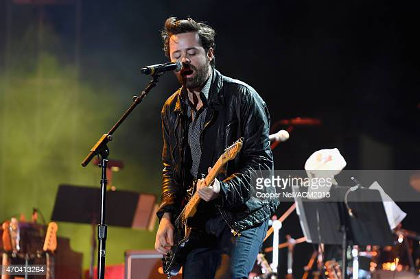 Musician Brad Tursi of Old Dominion performs onstage during the 50th Academy Of Country Music Awards All Star Jam at ATT Stadium on April 19 2015 in...