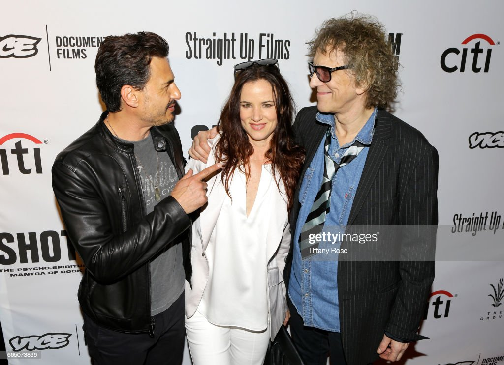 Musician Brad Wilk, actress/singer Juliette Lewis and photogpapher Mick Rock attend 'Shot! The Psycho - Spiritual Mantra of Rock' LA Premiere Presented by Citi at The Grove on April 5, 2017 in Los Angeles, California.