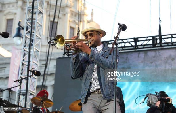 Musician Branden Lewis of Preservation Hall Jazz Band performs onstage at the Piazza Del Cluster Stage during Colossal Clusterfest at Civic Center...