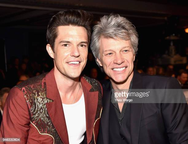 Musician Brandon Flowers and inductee Bon Jovi attend the 33rd Annual Rock Roll Hall of Fame Induction Ceremony at Public Auditorium on April 14 2018...