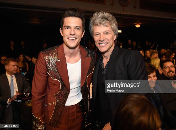 Musician Brandon Flowers and inductee Jon Bon Jovi attend the 33rd Annual Rock & Roll Hall of Fame Induction Ceremony at Public Auditorium on April...