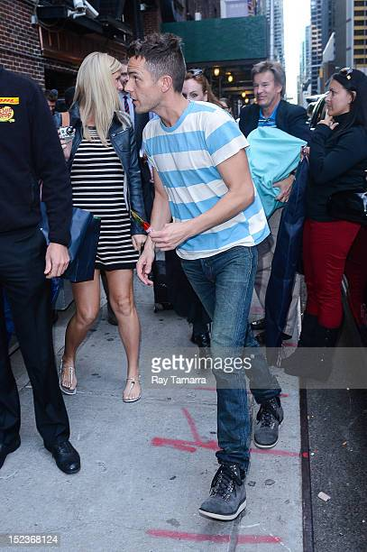 Musician Brandon Flowers of The Killers enters the Late Show With David Letterman taping at Ed Sullivan Theater on September 19 2012 in New York City