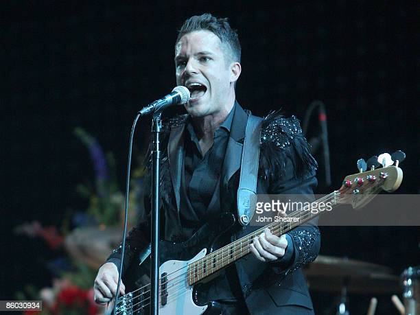 Musician Brandon Flowers of The Killers performs during day 2 of Coachella Valley Music & Arts Festival 2009 at the Empire Polo Club on April 18,...