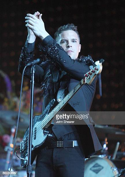 Musician Brandon Flowers of The Killers performs during day 2 of the Coachella Valley Music & Arts Festival 2009 at the Empire Polo Club on April 18,...
