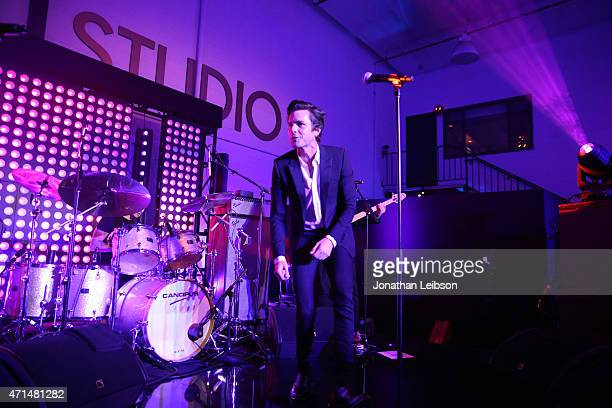 Musician Brandon Flowers performs at the Samsung Studio LA Launch Event across from the Grove on April 28 2015 in Los Angeles California