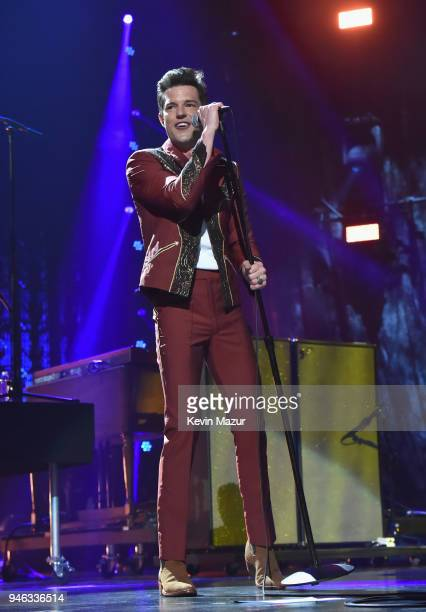 Musician Brandon Flowers performs during the 33rd Annual Rock Roll Hall of Fame Induction Ceremony at Public Auditorium on April 14 2018 in Cleveland...