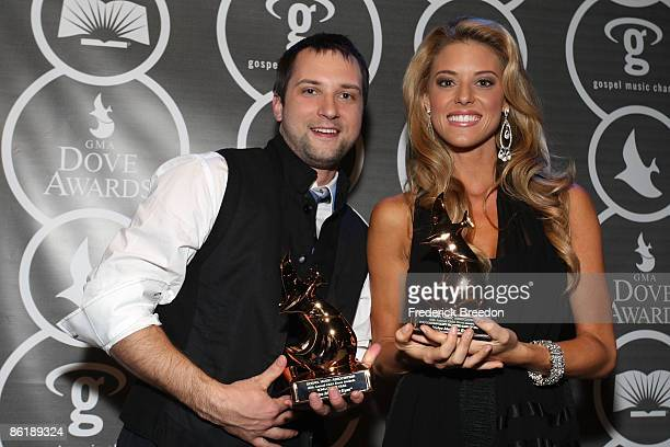 Musician Brandon Heath and Miss California Carrie Prejean pose in the press room at the 40th Annual GMA Dove Awards held at the Grand Ole Opry House...