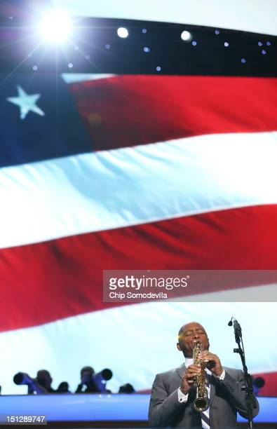 Musician Branford Marsalis performs the national anthem during day two of the Democratic National Convention at Time Warner Cable Arena on September...