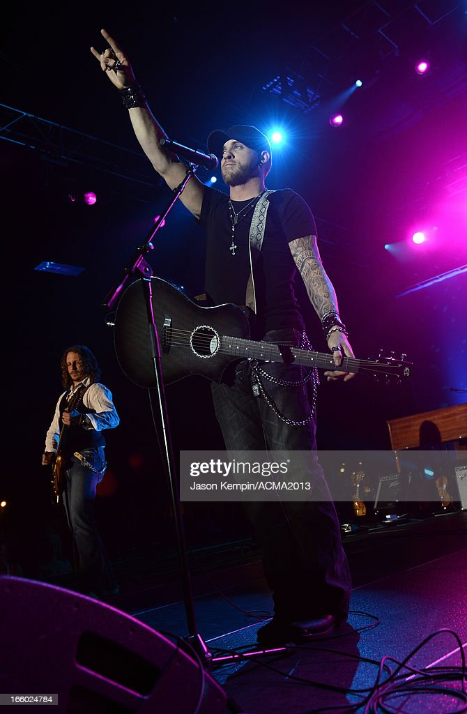 Musician Brantley Gilbert performs onstage at the All Star Jam during the 48th Annual Academy Of Country Music Awards at the MGM Grand Hotel/Casino on April 7, 2013 in Las Vegas, Nevada.