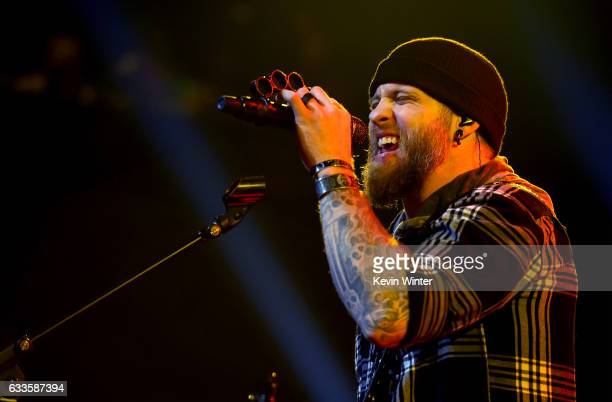Musician Brantley Gilbert performs onstage during his album release party LIVE on the Honda Stage at the iHeartRadio Theater LA on January 12 2017 in...
