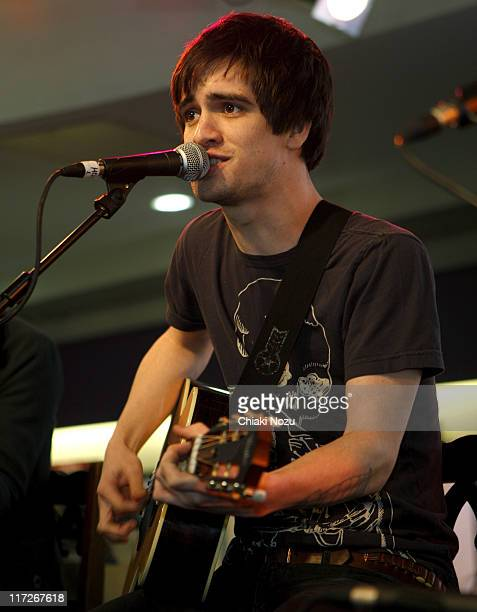 Musician Brendon Urie of Panic At The Disco performs at HMV Oxford Street on March 17 2008 in London England