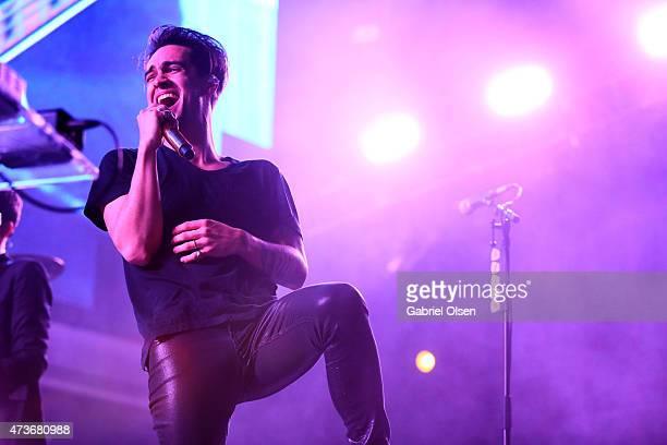 Musician Brendon Urie of Panic! at the Disco performs onstage at the KROQ Weenie Roast Y Fiesta 2015 at Irvine Meadows Amphitheatre on May 16, 2015...