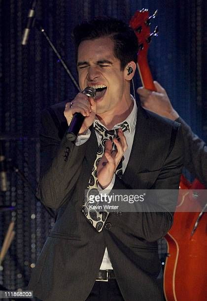 Musician Brendon Urie of Panic at the Disco performs onstage during Logo's 'NewNowNext Awards' 2011 at Avalon on April 7 2011 in Hollywood California