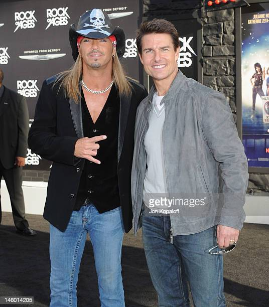"""Musician Bret Michaels and actor Tom Cruise arrive at the Los Angeles Premiere """"Rock Of Ages"""" at Grauman's Chinese Theatre on June 8, 2012 in..."""