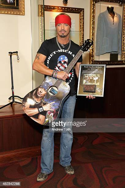 Musician Bret Michaels attends the Bret Michaels guitar donation at Hard Rock Cafe New York on July 18 2014 in New York City