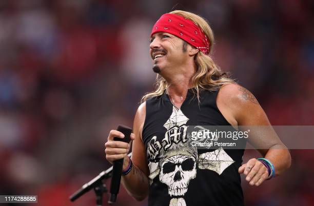 Musician Bret Michaels performs during a halftime show at the NFL game between the Arizona Cardinals # of the Arizona Cardinals and the Detroit Lions...