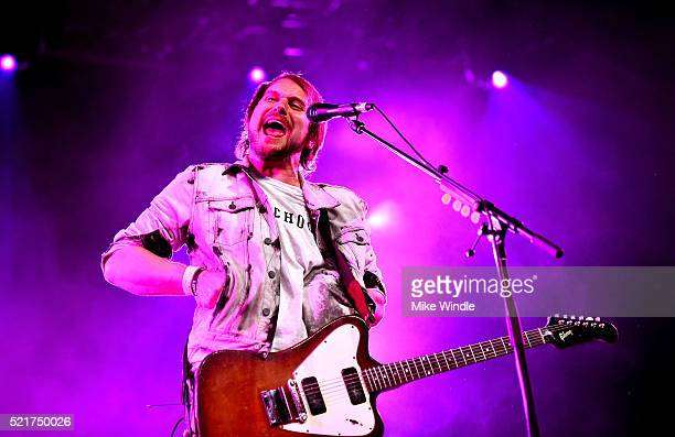 Musician Brian Aubert of Silversun Pickups perform onstage during day 2 of the 2016 Coachella Valley Music Arts Festival Weekend 1 at the Empire Polo...