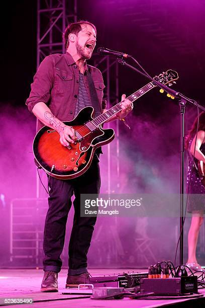 Musician Brian Aubert of Silversun Pickups performs onstage during day 2 of the 2016 Coachella Valley Music & Arts Festival Weekend 2 at the Empire...