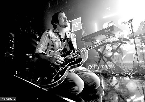 Musician Brian Aubert of Silversun Pickups performs onstage during the celebration their album release with an exclusive performance at the...